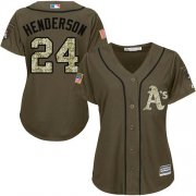 Wholesale Athletics #24 Rickey Henderson Green Salute to Service Women's Stitched Baseball Jersey