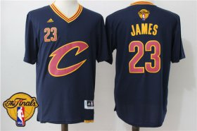 Wholesale Cheap Men\'s Cleveland Cavaliers LeBron James #23 2016 The NBA Finals Patch New Navy Blue Short-Sleeved Jersey