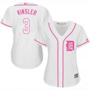 Wholesale Cheap Tigers #3 Ian Kinsler White/Pink Fashion Women's Stitched MLB Jersey