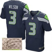 Wholesale Cheap Nike Seahawks #3 Russell Wilson Steel Blue Team Color Men's Stitched NFL Elite Autographed Jersey