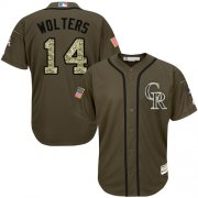 Wholesale Cheap Rockies #14 Tony Wolters Green Salute to Service Stitched MLB Jersey
