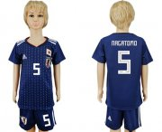 Wholesale Cheap Japan #5 Nagatomo Home Kid Soccer Country Jersey