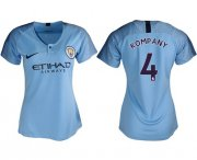 Wholesale Cheap Women's Manchester City #4 Kompany Home Soccer Club Jersey