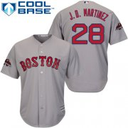 Wholesale Cheap Red Sox #28 J. D. Martinez Grey New Cool Base 2018 World Series Champions Stitched MLB Jersey