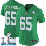 Wholesale Cheap Nike Eagles #65 Lane Johnson Green Super Bowl LII Women's Stitched NFL Limited Rush Jersey