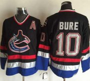 Wholesale Canucks #10 Pavel Bure Black/Blue CCM Throwback Stitched NHL Jersey