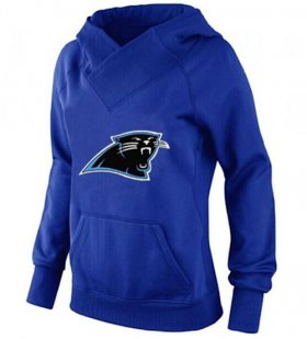 Wholesale Cheap Women\'s Carolina Panthers Logo Pullover Hoodie Blue-1