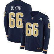 Wholesale Cheap Nike Rams #66 Austin Blythe Navy Blue Team Color Men's Stitched NFL Limited Therma Long Sleeve Jersey