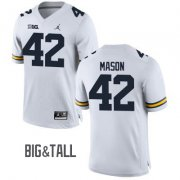 Wholesale Cheap Men's Michigan Wolverines #42 Ben Mason White Big&Tall Performance Jersey