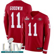 Wholesale Cheap Nike 49ers #11 Marquise Goodwin Red Super Bowl LIV 2020 Team Color Men's Stitched NFL Limited Therma Long Sleeve Jersey