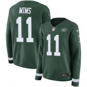 Wholesale Cheap Nike Jets #11 Denzel Mim Green Team Color Women's Stitched NFL Limited Therma Long Sleeve Jersey