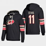 Wholesale Cheap Carolina Hurricanes #11 Jordan Staal Black adidas Lace-Up Pullover Hoodie