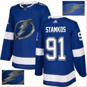 Wholesale Cheap Adidas Lightning #91 Steven Stamkos Blue Home Authentic Fashion Gold Stitched NHL Jersey