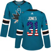 Wholesale Cheap Adidas Sharks #31 Martin Jones Teal Home Authentic USA Flag Women's Stitched NHL Jersey