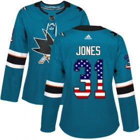 Wholesale Cheap Adidas Sharks #31 Martin Jones Teal Home Authentic USA Flag Women\'s Stitched NHL Jersey