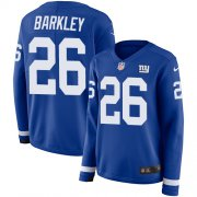 Wholesale Cheap Nike Giants #26 Saquon Barkley Royal Blue Team Color Women's Stitched NFL Limited Therma Long Sleeve Jersey