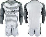 Wholesale Cheap Leicester City Blank Grey Goalkeeper Long Sleeves Soccer Club Jersey