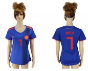 Wholesale Cheap Women's Colombia #7 Bacca Away Soccer Country Jersey