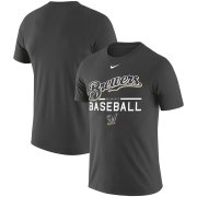 Wholesale Cheap Milwaukee Brewers Nike Wordmark Practice Performance T-Shirt Anthracite