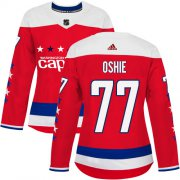Wholesale Cheap Adidas Capitals #77 T.J. Oshie Red Alternate Authentic Women's Stitched NHL Jersey