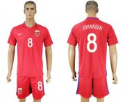 Wholesale Cheap Norway #8 Johansen Home Soccer Country Jersey