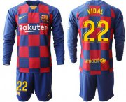 Wholesale Cheap Barcelona #22 Vidal Home Long Sleeves Soccer Club Jersey