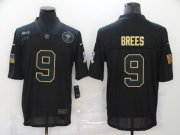 Wholesale Cheap Men's New Orleans Saints #9 Drew Brees Black 2020 Salute To Service Stitched NFL Nike Limited Jersey