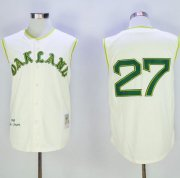 Wholesale Cheap Mitchell And Ness 1968 Athletics #27 Catfish Hunter Cream Throwback Stitched MLB Jersey