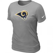 Wholesale Cheap Women's Nike Los Angeles Rams Logo NFL T-Shirt Light Grey