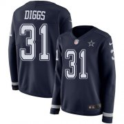 Wholesale Cheap Nike Cowboys #31 Trevon Diggs Navy Blue Team Color Women's Stitched NFL Limited Therma Long Sleeve Jersey