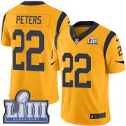 Wholesale Cheap Nike Rams #22 Marcus Peters Gold Super Bowl LIII Bound Youth Stitched NFL Limited Rush Jersey