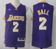 Wholesale Cheap Men's 2017 Draft Los Angeles Lakers #2 Lonzo Ball Purple Stitched NBA adidas Revolution 30 Swingman Jersey