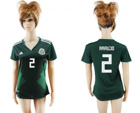 Wholesale Cheap Women\'s Mexico #2 Araujo Home Soccer Country Jersey
