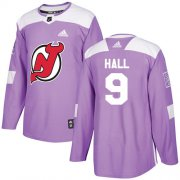 Wholesale Cheap Adidas Devils #9 Taylor Hall Purple Authentic Fights Cancer Stitched NHL Jersey
