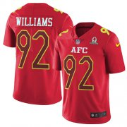 Wholesale Cheap Nike Jets #92 Leonard Williams Red Men's Stitched NFL Limited AFC 2017 Pro Bowl Jersey