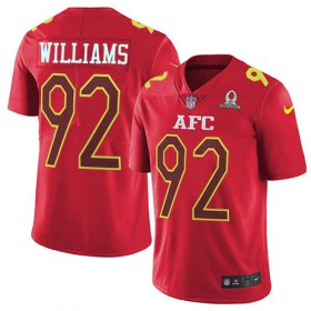 Wholesale Cheap Nike Jets #92 Leonard Williams Red Men\'s Stitched NFL Limited AFC 2017 Pro Bowl Jersey
