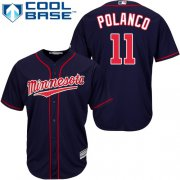Wholesale Cheap Twins #11 Jorge Polanco Navy Blue Cool Base Stitched MLB Jersey