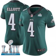 Wholesale Cheap Nike Eagles #4 Jake Elliott Midnight Green Team Color Super Bowl LII Women's Stitched NFL Vapor Untouchable Limited Jersey