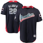 Wholesale Cheap Indians #28 Corey Kluber Navy Blue 2018 All-Star American League Stitched MLB Jersey