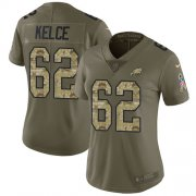Wholesale Cheap Nike Eagles #62 Jason Kelce Olive/Camo Women's Stitched NFL Limited 2017 Salute to Service Jersey