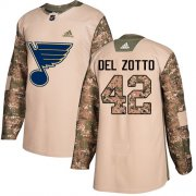 Wholesale Cheap Adidas Blues #42 Michael Del Zotto Camo Authentic 2017 Veterans Day Stitched NHL Jersey