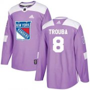 Wholesale Cheap Adidas Rangers #8 Jacob Trouba Purple Authentic Fights Cancer Stitched NHL Jersey