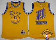 Wholesale Cheap Men's Golden State Warriors #11 Klay Thompson Retro Yellow 2017 The NBA Finals Patch Jersey