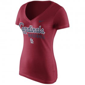 Wholesale Cheap St. Louis Cardinals Nike Women\'s New Practice V-Neck T-Shirt Red