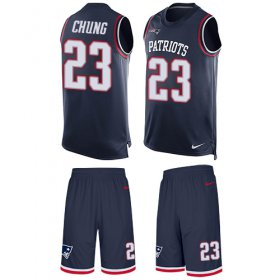 Wholesale Cheap Nike Patriots #23 Patrick Chung Navy Blue Team Color Men\'s Stitched NFL Limited Tank Top Suit Jersey