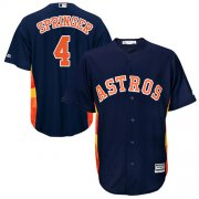 Wholesale Cheap Astros #4 George Springer Navy Blue New Cool Base Stitched MLB Jersey