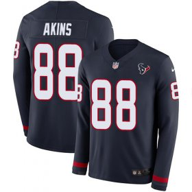 Wholesale Cheap Nike Texans #88 Jordan Akins Navy Blue Team Color Youth Stitched NFL Limited Therma Long Sleeve Jersey