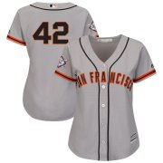 Wholesale Cheap San Francisco Giants #42 Majestic Women's 2019 Jackie Robinson Day Official Cool Base Jersey Gray