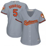Wholesale Cheap Orioles #5 Brooks Robinson Grey Road Women's Stitched MLB Jersey