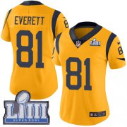 Wholesale Cheap Nike Rams #81 Gerald Everett Gold Super Bowl LIII Bound Women's Stitched NFL Limited Rush Jersey